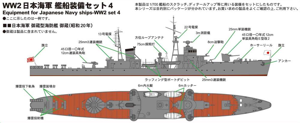 WW2 日本海軍 艦船装備セット 4プラモデル(ピットロードスカイウェーブ E シリーズNo.E-007)商品画像_1