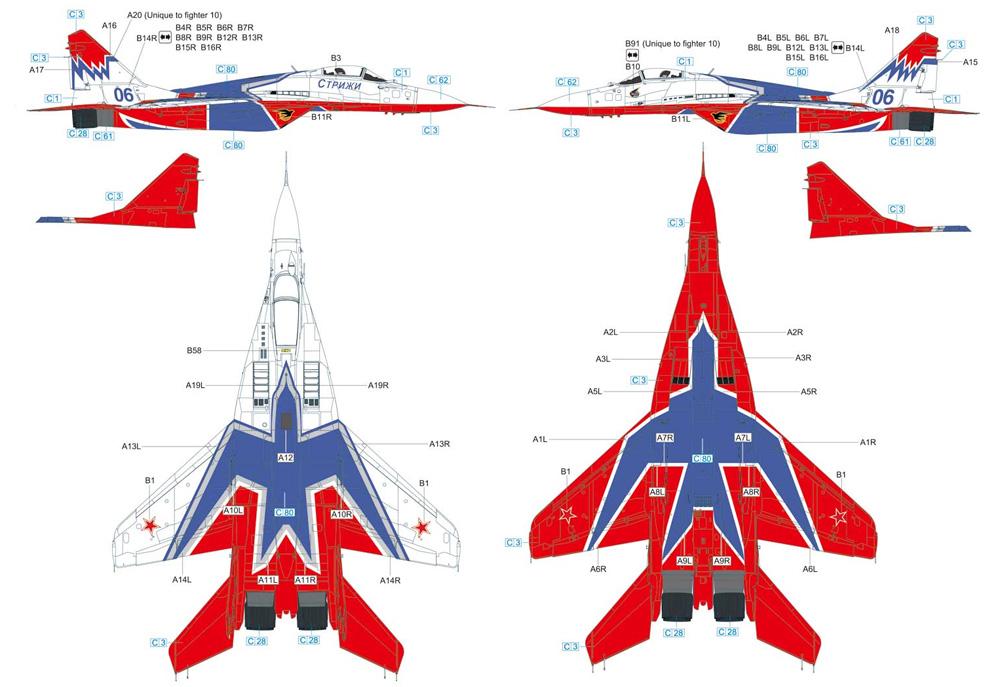 MiG-29 9-3 ファルクラム C ロシア空軍 SWIFTSプラモデル(グレートウォールホビー1/48 ミリタリーエアクラフト プラモデルNo.S4814)商品画像_2