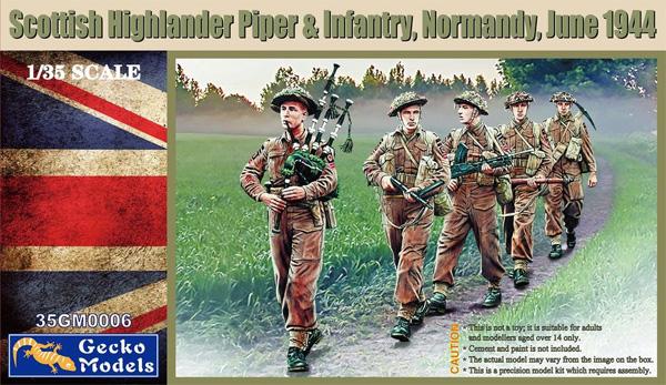 スコティッシュ ハイランダーズ バグパイプ手と歩兵 ノルマンディー 1944年6月プラモデル(ゲッコーモデル1/35 ミリタリーNo.35GM0006)商品画像