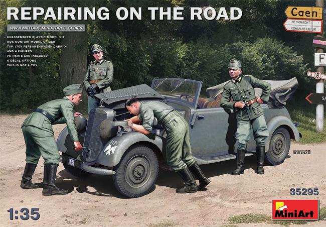エンジン修復中 ドイツ 170V パーソネンワーゲンカブリオレ + 兵士プラモデル(ミニアート1/35 WW2 ミリタリーミニチュアNo.35295)商品画像
