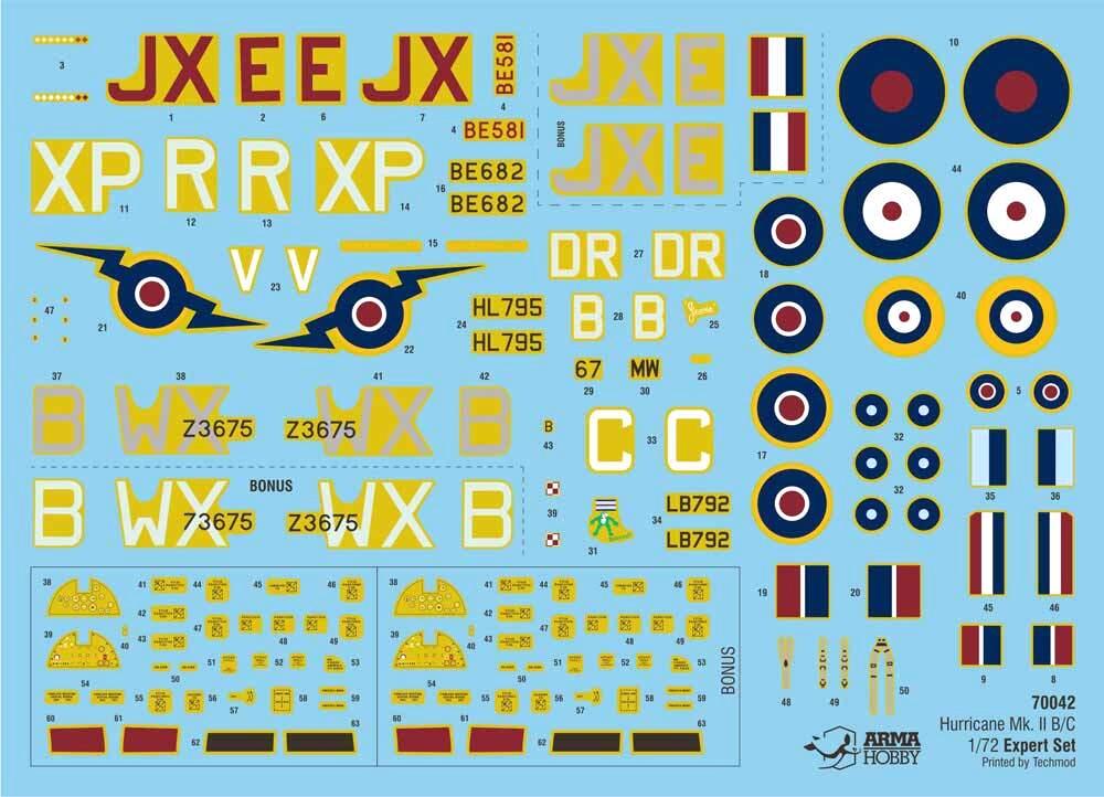 ホーカー ハリケーン MK.2B/C エキスパートセットプラモデル(アルマホビー1/72 エアクラフト プラモデルNo.70042)商品画像_1