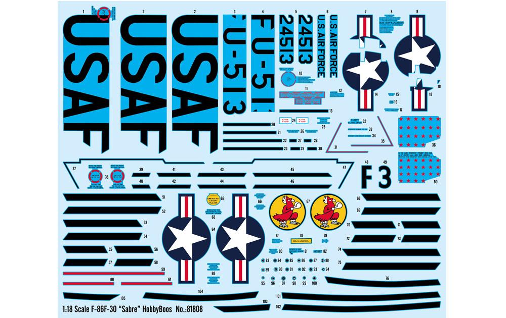 F-86F-30 セイバープラモデル(ホビーボス1/18 エアクラフト シリーズNo.81808)商品画像_2