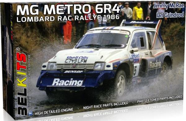 MG メトロ 6R4 ロンバード RACラリー 1986 ジミー マクレー/イアン グラインドロッドプラモデル(BELKITS1/24 PLASTIC KITSNo.BEL-016)商品画像