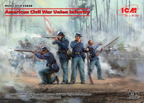 アメリカ 南北戦争 北軍歩兵プラモデル(ICM1/35 ミリタリービークル・フィギュアNo.35020)商品画像