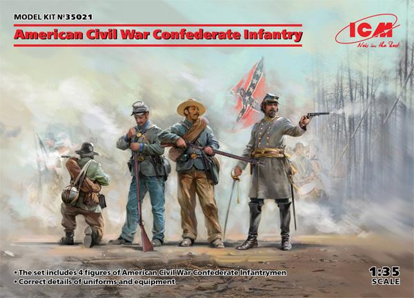 アメリカ 南北戦争 南軍歩兵プラモデル(ICM1/35 ミリタリービークル・フィギュアNo.35021)商品画像