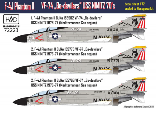 F-4J ファントム 2 VF-74 ビ・デビラーズ USS ニミッツ 1970年代 パート 1 デカールデカール(HAD MODELS1/72 デカールNo.72223)商品画像