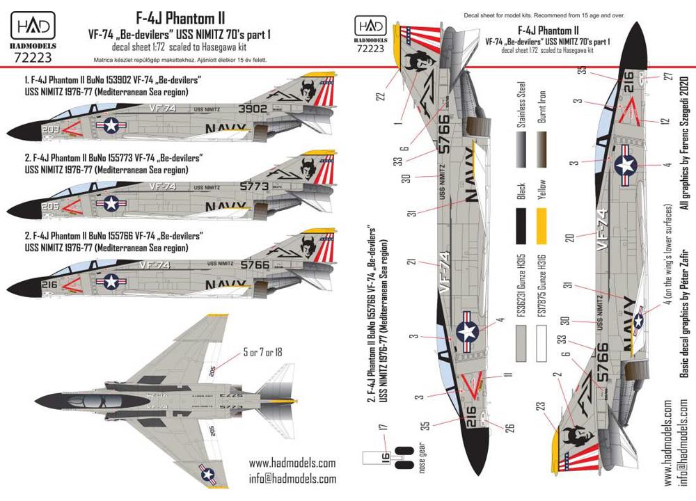 F-4J ファントム 2 VF-74 ビ・デビラーズ USS ニミッツ 1970年代 パート 1 デカールデカール(HAD MODELS1/72 デカールNo.72223)商品画像_1