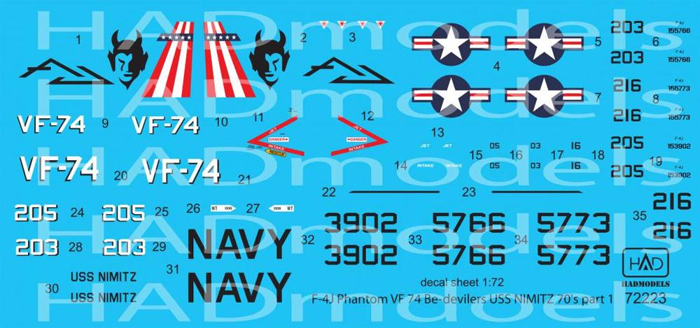 F-4J ファントム 2 VF-74 ビ・デビラーズ USS ニミッツ 1970年代 パート 1 デカールデカール(HAD MODELS1/72 デカールNo.72223)商品画像_2