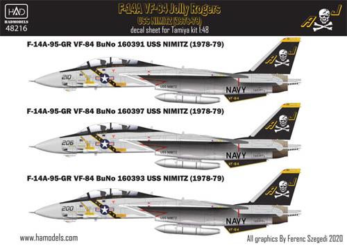 F-14A トムキャット VF-84 ジョリーロジャース USS ニミッツ 1978-79年 (タミヤ用) デカールデカール(HAD MODELS1/48 デカールNo.48216)商品画像