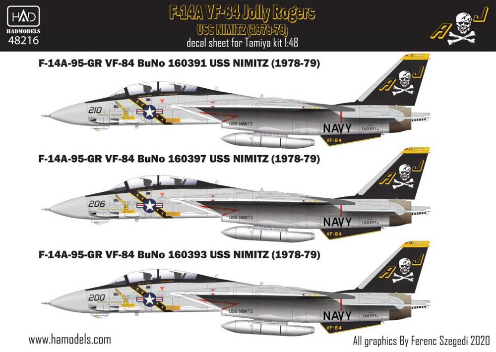 F-14A トムキャット VF-84 ジョリーロジャース USS ニミッツ 1978-79年 (タミヤ用) デカールデカール(HAD MODELS1/48 デカールNo.48216)商品画像_1