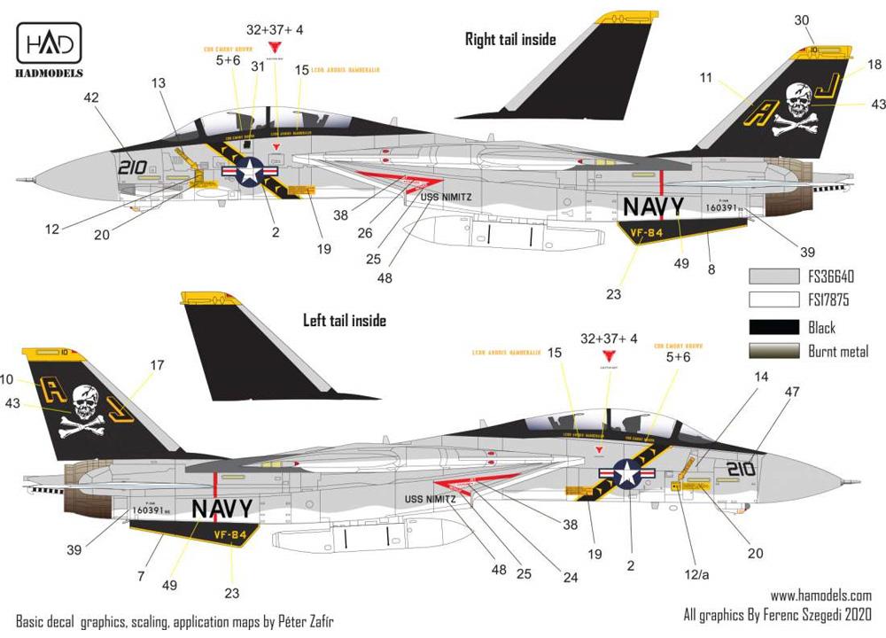 F-14A トムキャット VF-84 ジョリーロジャース USS ニミッツ 1978-79年 (タミヤ用) デカールデカール(HAD MODELS1/48 デカールNo.48216)商品画像_2