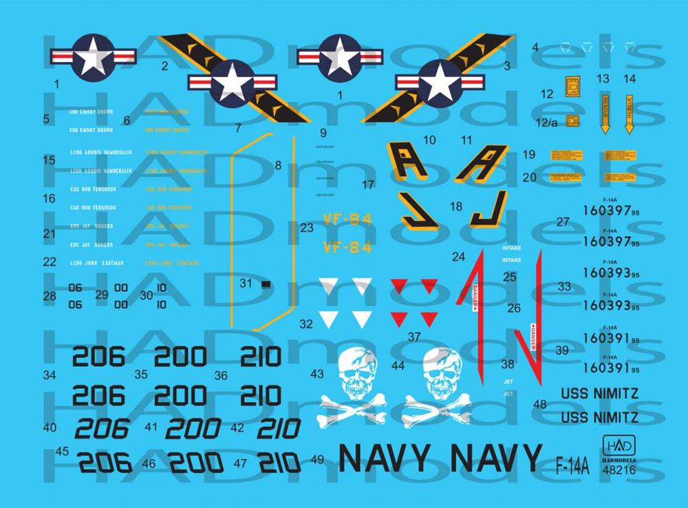 F-14A トムキャット VF-84 ジョリーロジャース USS ニミッツ 1978-79年 (タミヤ用) デカールデカール(HAD MODELS1/48 デカールNo.48216)商品画像_3