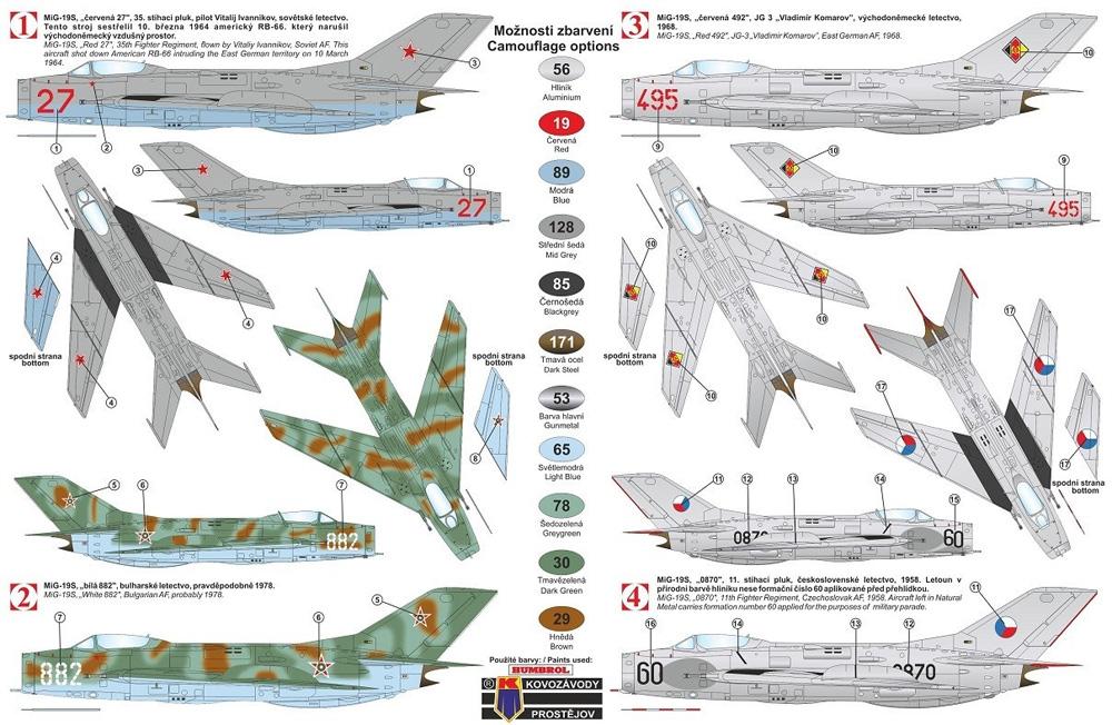 ミコヤン グレビッチ MiG-19S ファーマーC ワルシャワ条約加盟国プラモデル(KPモデル1/72 エアクラフト プラモデルNo.KPM0187)商品画像_1