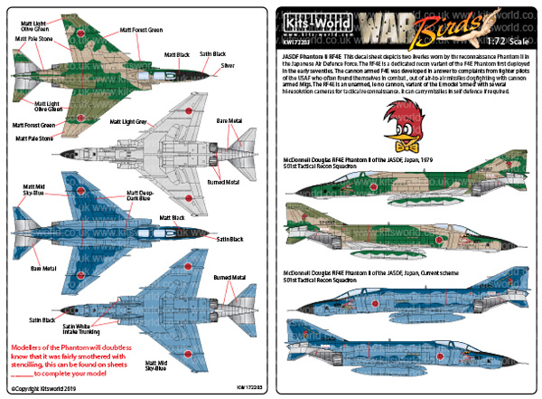 航空自衛隊 RF-4E 第501飛行隊 通常・洋上迷彩 ファントム デカールデカール(キッツワールド1/72スケール デカールNo.KW172203)商品画像