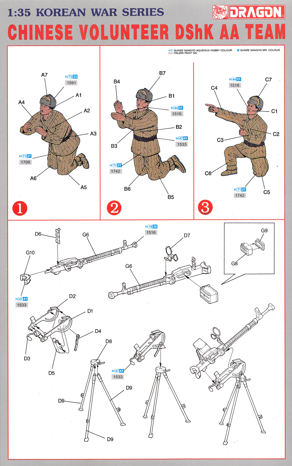 中国人民志願兵 DShK対空機関銃チームプラモデル(ドラゴン1/35 Korean War SeriesNo.6809)商品画像_1