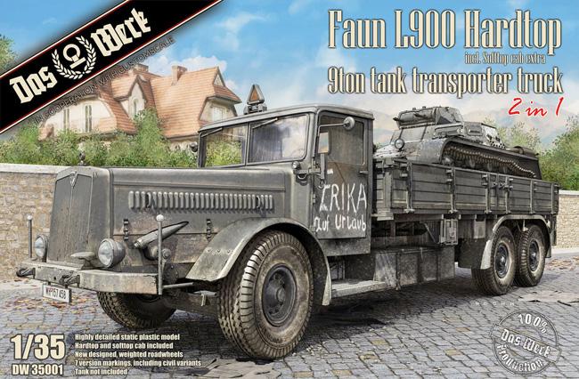 ドイツ 9t 運搬トラック ファウン L900 ハードトップ incl. ソフトトップ キャブ 2in1プラモデル(ダス ヴェルク1/35 ミリタリーNo.DW35001)商品画像