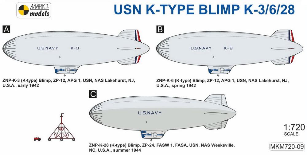 USN K級 軟式飛行船 K-3/6/28 初期型プラモデル(MARK 1ミリタリー インジェクションキットNo.MKM720-09)商品画像_1