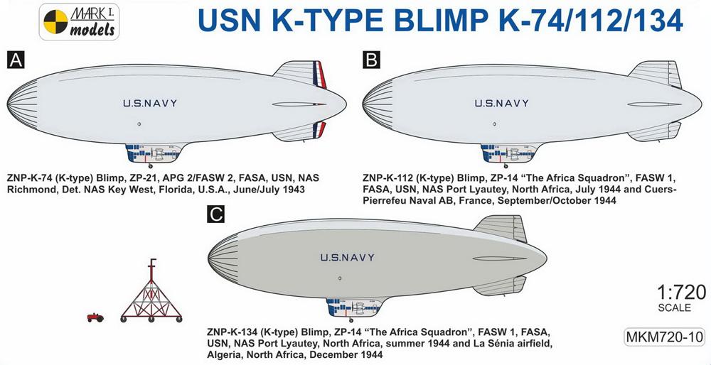 USN K級 軟式飛行船 K-74/112/134 艦隊哨戒網プラモデル(MARK 1ミリタリー インジェクションキットNo.MKM720-10)商品画像_1