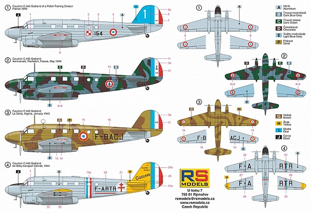 コードロン C-445 ゴエラン フランス 1940プラモデル(RSモデル1/72 エアクラフト プラモデルNo.92253)商品画像_1