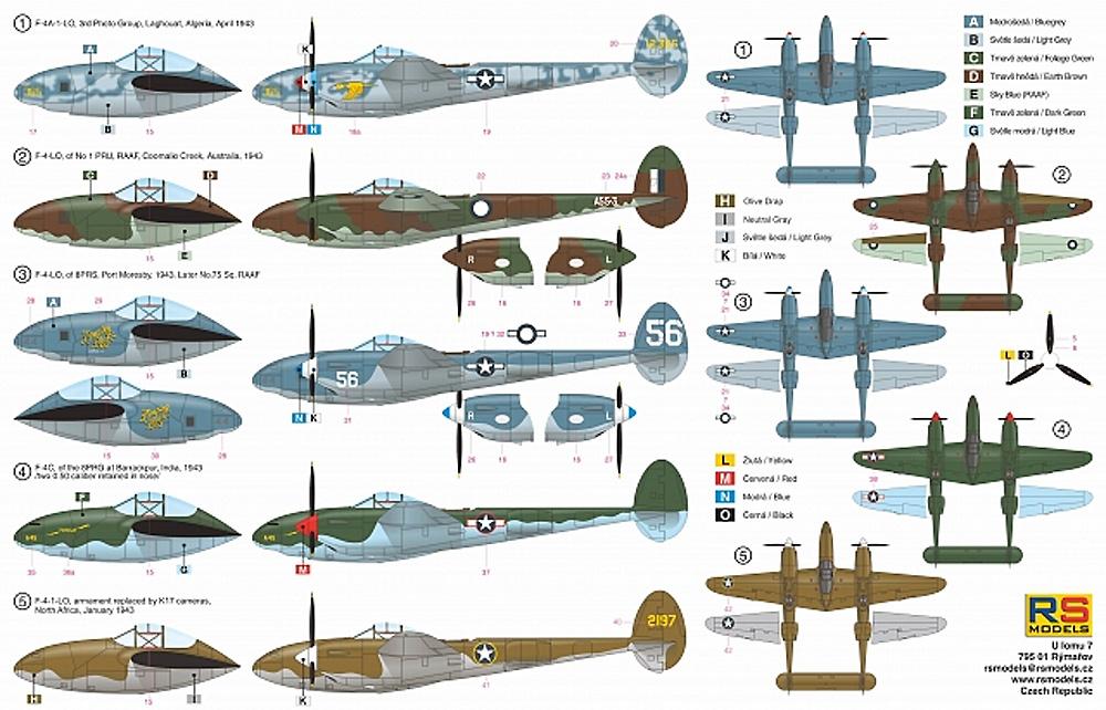F-4/F-4A ライトニング アルジェリア 1943プラモデル(RSモデル1/72 エアクラフト プラモデルNo.92254)商品画像_1