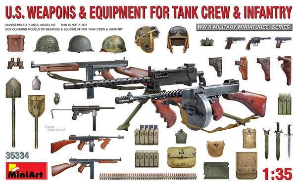 アメリカ 戦車兵&歩兵用 武器 装備品セットプラモデル(ミニアート1/35 WW2 ミリタリーミニチュアNo.35334)商品画像