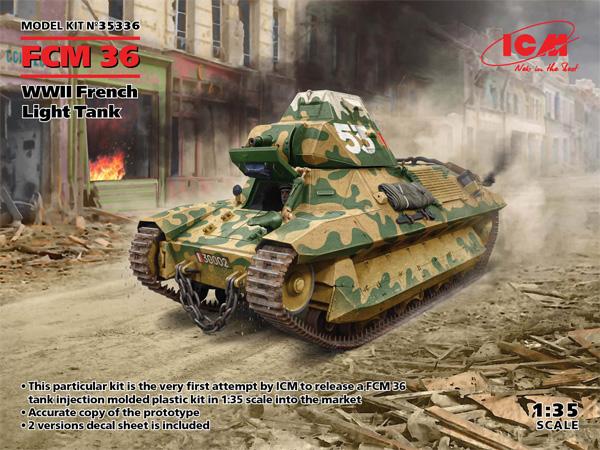 FCM36 WW2 フランス 軽戦車プラモデル(ICM1/35 ミリタリービークル・フィギュアNo.35336)商品画像
