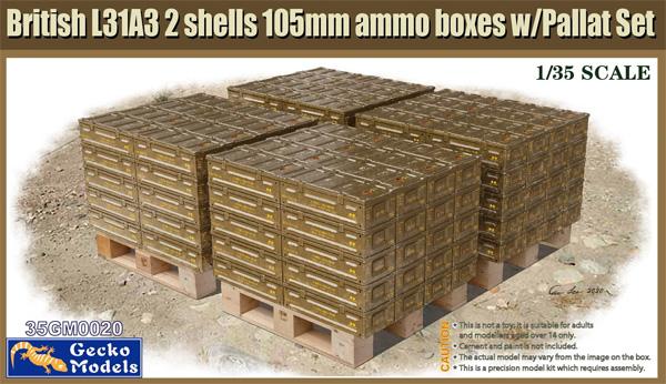 イギリス L31A3 2シェル 105mm弾薬箱 w/パレットプラモデル(ゲッコーモデル1/35 ミリタリーNo.35GM0020)商品画像