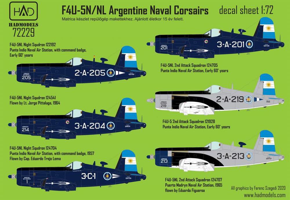 F4U-5N/NL コルセア アルゼンチン海軍デカール(HAD MODELS1/72 デカールNo.72229)商品画像_1