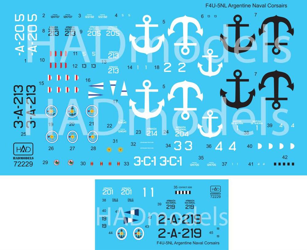 F4U-5N/NL コルセア アルゼンチン海軍デカール(HAD MODELS1/72 デカールNo.72229)商品画像_2