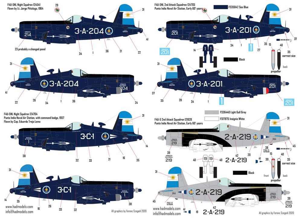 F4U-5N/NL コルセア アルゼンチン海軍デカール(HAD MODELS1/72 デカールNo.72229)商品画像_3