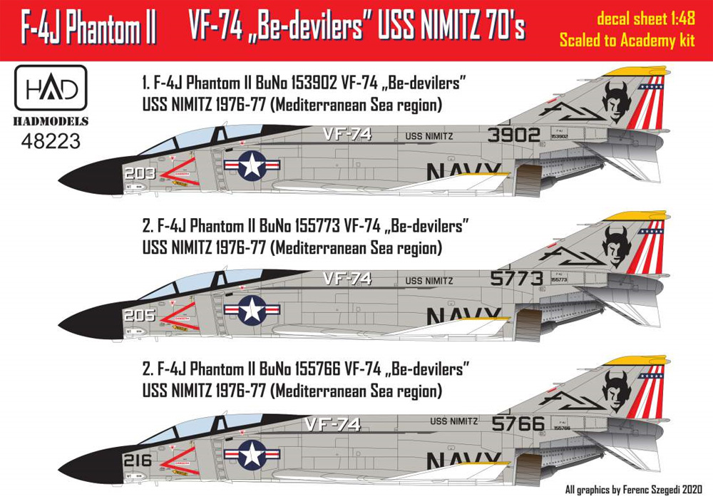 F-4J ファントム 2 VF-74 ビ・デビラーズ USS ニミッツ 1970年代 パート1 (アカデミー用)デカール(HAD MODELS1/48 デカールNo.48223)商品画像_2