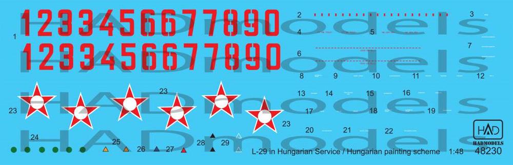 L-29 デルフィン ハンガリー空軍 ペイントスキーム 1973-1977年デカール(HAD MODELS1/48 デカールNo.48230)商品画像_1