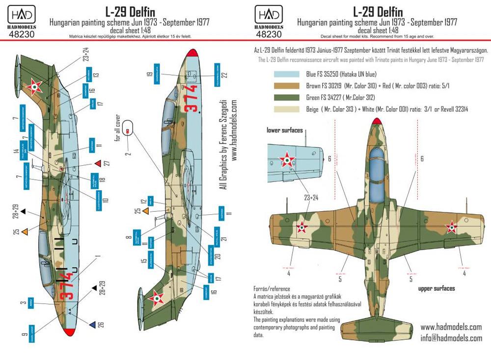 L-29 デルフィン ハンガリー空軍 ペイントスキーム 1973-1977年デカール(HAD MODELS1/48 デカールNo.48230)商品画像_3