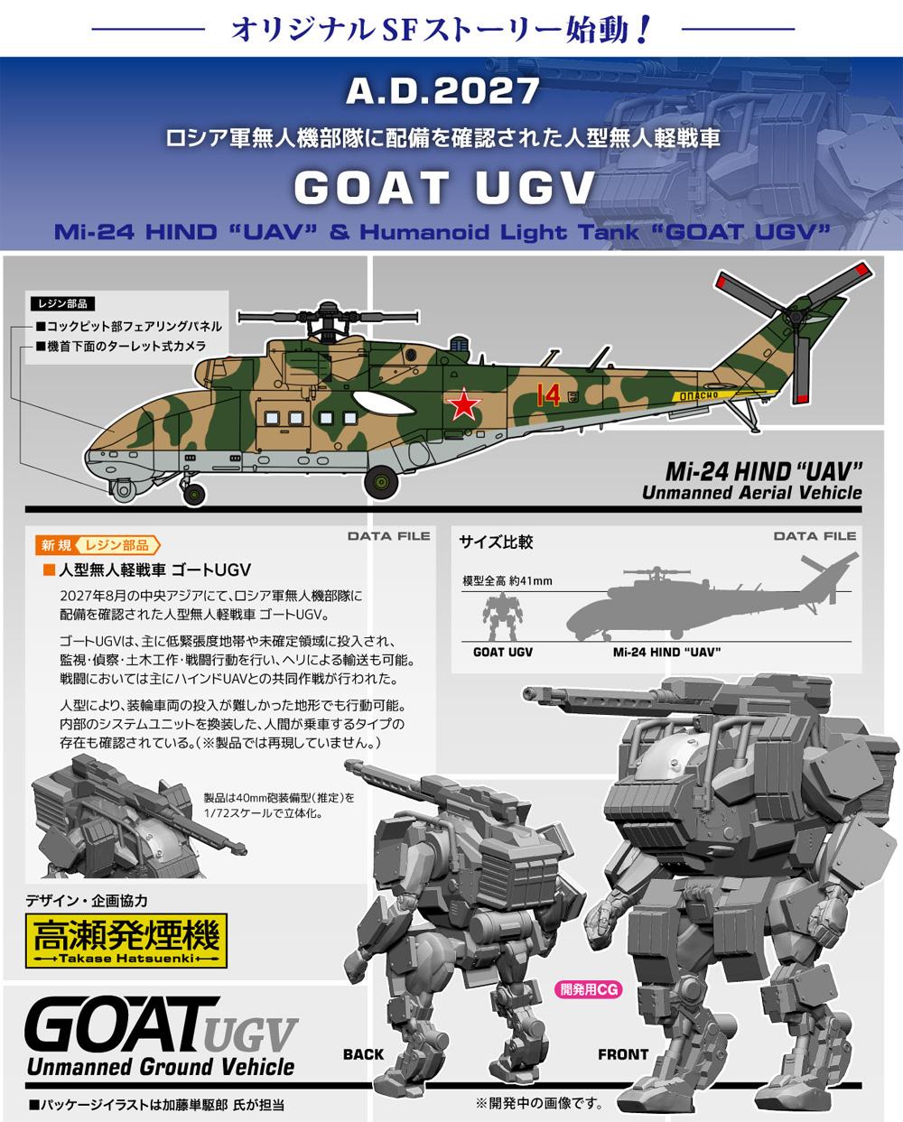 Mi-24 ハインド UAV & 人型軽戦車 ゴート UGVプラモデル(ハセガワ1/72 飛行機 限定生産No.02368)商品画像_2