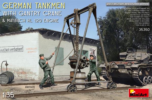 ドイツ 戦車整備兵 w/ガントリークレーン & マイバッハ HL120 エンジンプラモデル(ミニアート1/35 WW2 ミリタリーミニチュアNo.35350)商品画像