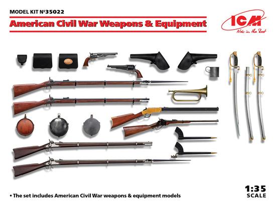 アメリカ 南北戦争 武器 & 装備セットプラモデル(ICM1/35 ミリタリービークル・フィギュアNo.35022)商品画像
