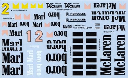 マクラーレン MP4/2C オプション デカールデカール(タブデザイン1/20 デカールNo.TABU-20156)商品画像