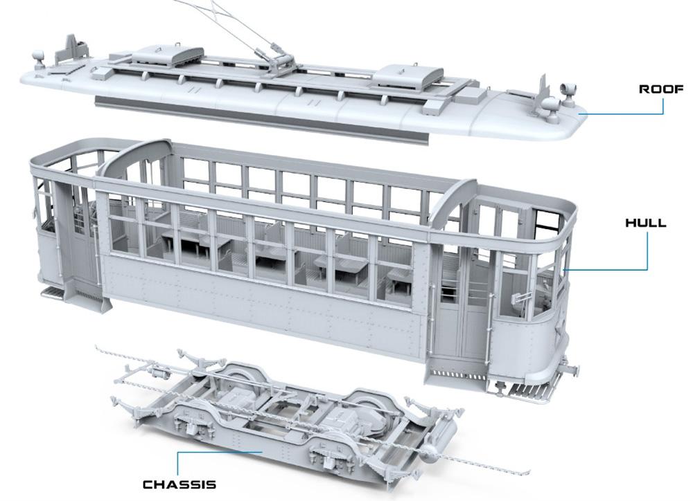 路面電車 Xシリーズ 中期型プラモデル(ミニアート1/35 ミニチュアシリーズNo.38026)商品画像_2