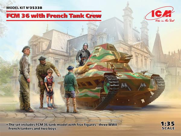 フランス FCM36 軽戦車 w/フランス戦車兵プラモデル(ICM1/35 ミリタリービークル・フィギュアNo.35338)商品画像