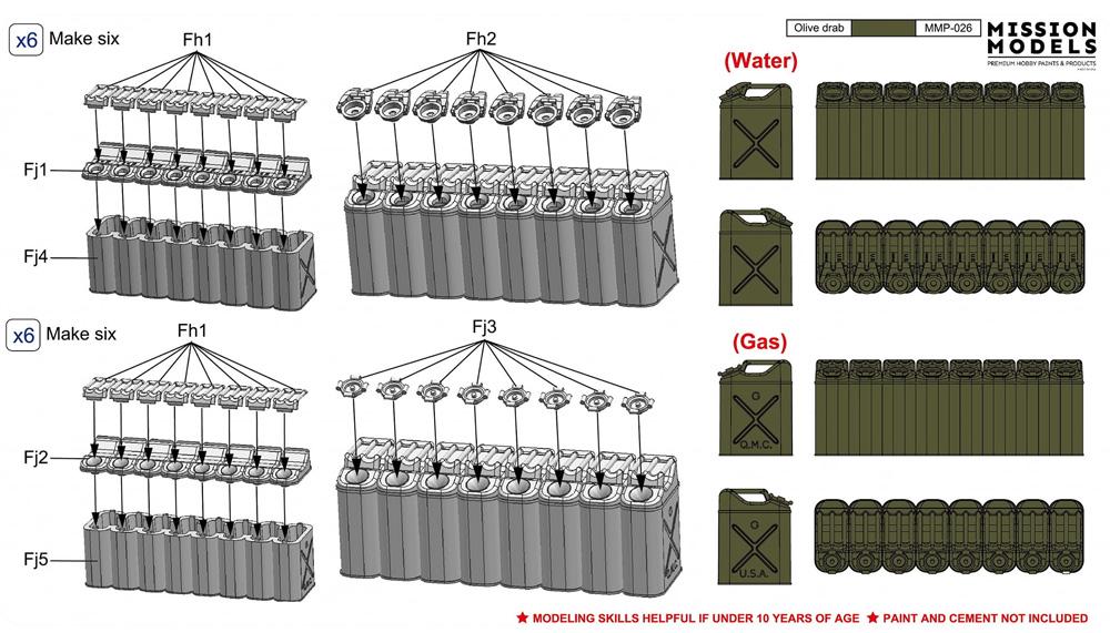 WW2 アメリカ 20リットル ジェリカンセット バリューパック(プラモデル)(ゲッコーモデル1/35 ミリタリーNo.35GM0036)商品画像_1