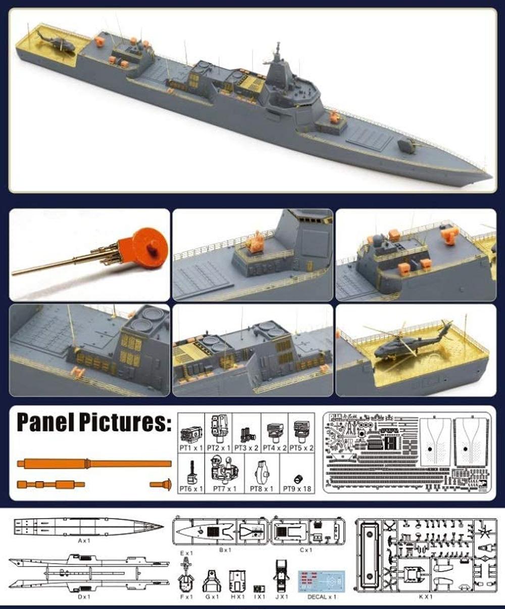 中国人民解放軍 海軍 055型 ミサイル駆逐艦 南昌 豪華版プラモデル(SPHYRNA1/700 ミリタリーNo.HTP7001S)商品画像_1