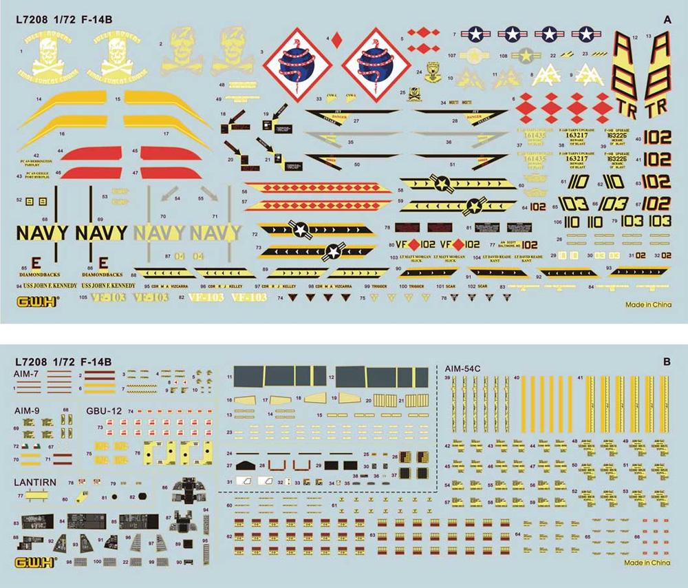 F-14B ボムキャットプラモデル(グレートウォールホビー1/72 エアクラフト プラモデルNo.L7208)商品画像_2