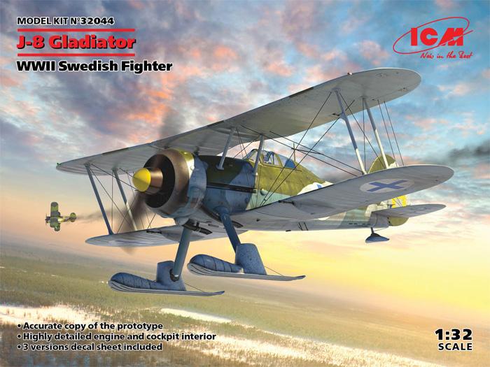 J-8 グラジエーター WW2 スウェーデン 戦闘機プラモデル(ICM1/32 エアクラフトNo.32044)商品画像