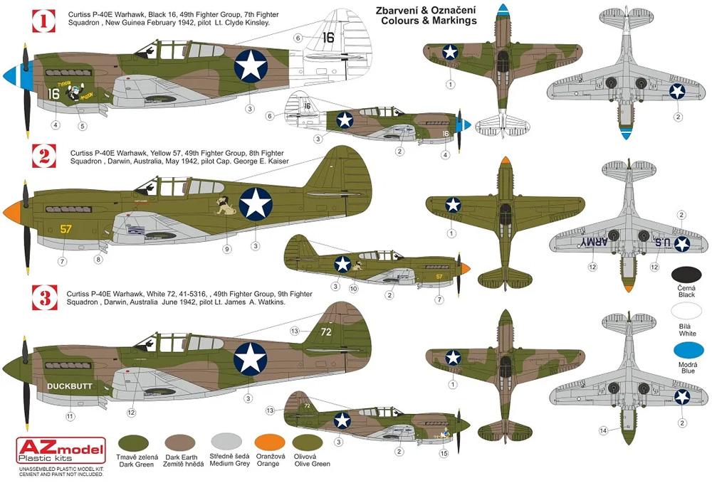 カーチス P-40E ウォーホーク 第49戦闘航空群プラモデル(AZ model1/72 エアクラフト プラモデルNo.AZ7695)商品画像_1