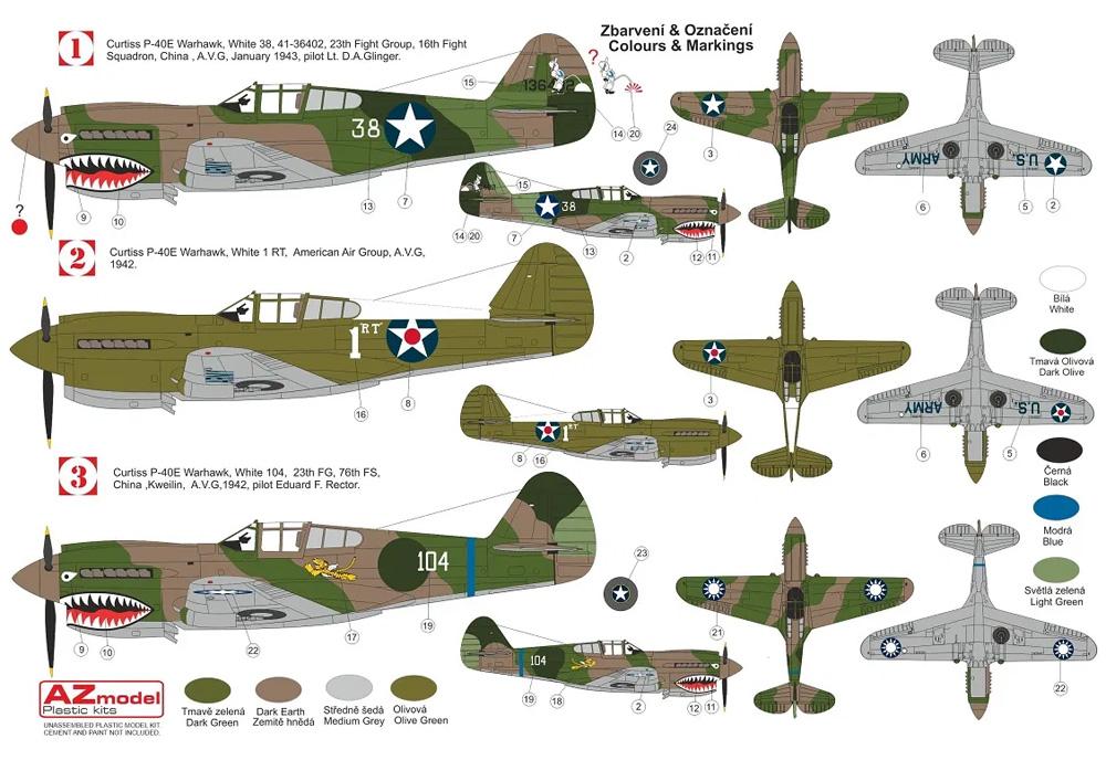 カーチス P-40E ウォーホーク フライング タイガースプラモデル(AZ model1/72 エアクラフト プラモデルNo.AZ7696)商品画像_1