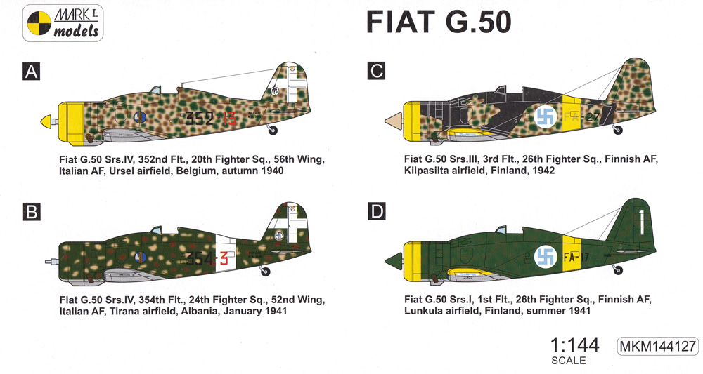 フィアット G.50 初期型 2in1プラモデル(MARK 1MARK 1 modelsNo.MKM144127)商品画像_1