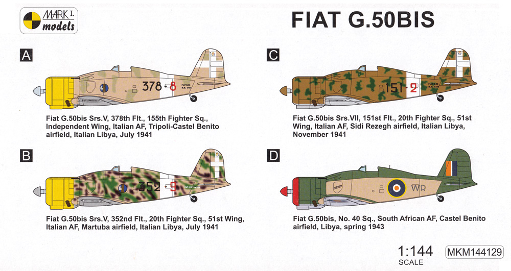 フィアット G.50bis アフリカ上空 2in1プラモデル(MARK 1MARK 1 modelsNo.MKM144129)商品画像_1