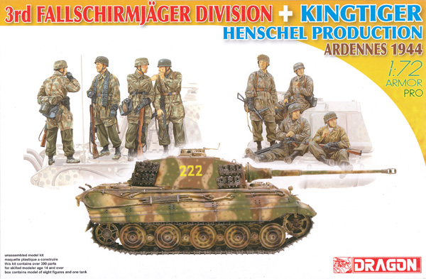 ドイツ 第3降下猟兵師団 + キングタイガー ヘンシェル砲塔 アルデンヌ 1944プラモデル(ドラゴン1/72 ARMOR PRO (アーマープロ)No.7400)商品画像