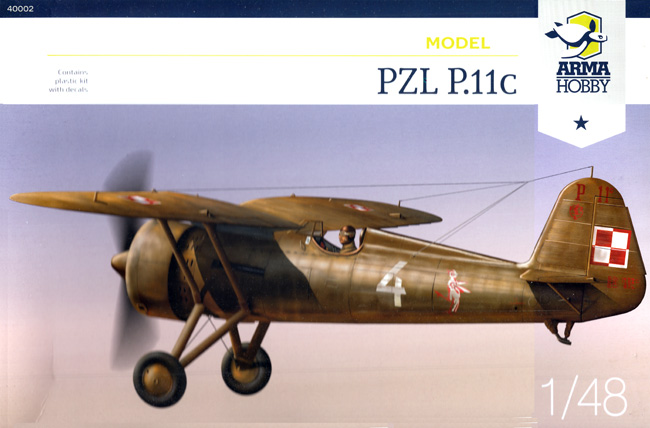 PZL P.11Cプラモデル(アルマホビー1/48 エアクラフト プラモデルNo.40002)商品画像