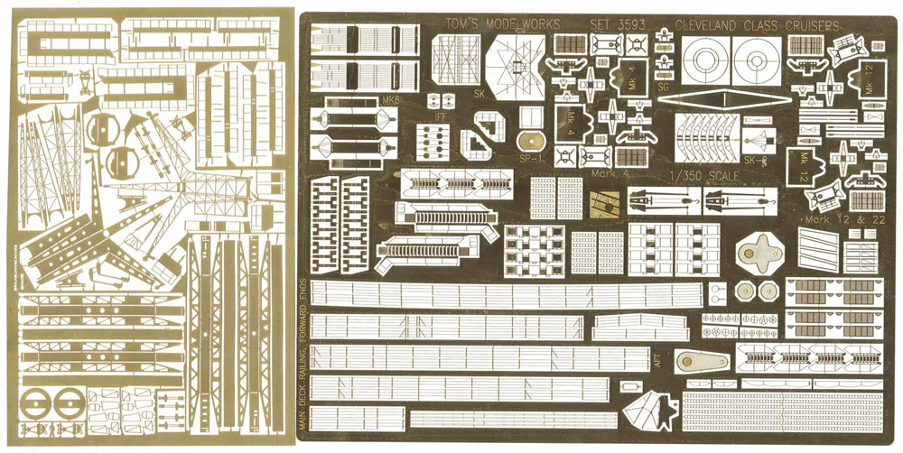 アメリカ海軍 軽巡洋艦 クリーブランド級用 エッチングパーツ (ベリーファイア対応)エッチング(トムスモデル1/350 艦船用エッチングパーツシリーズNo.TM3593)商品画像_1